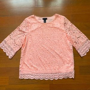 Investments pink lace flower blouse
